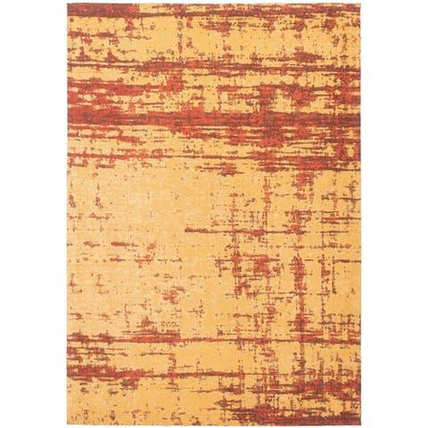 Handmade Collage Copper, Orange Chenille Rug