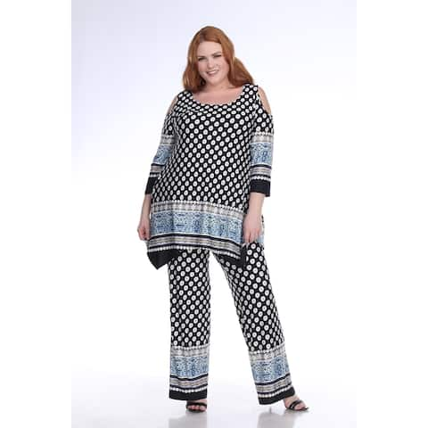 White Mark Women's Plus Size Head to Toe Printed Set