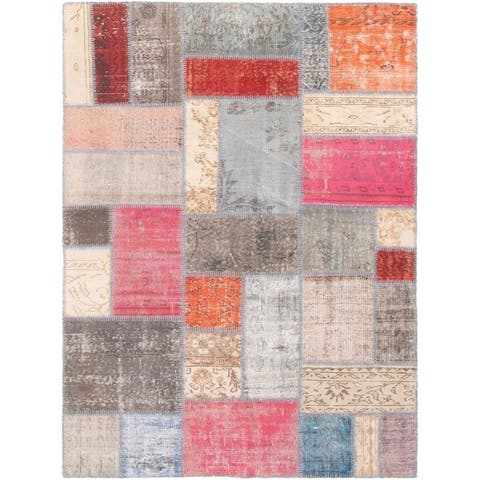 """Hand-knotted Color Patchwork I Multi Color Wool Rug - 5'1"""" x 6'9"""""""