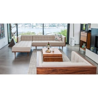 Link to Kardiel Mid-Century Woodrow Box Sofa Sectional Left - Width 100.4″ x Longest Depth 67.3″ x Height 27.9″ Similar Items in Sofas & Couches