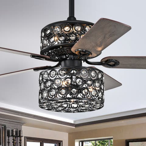 Gracewood Hollow Iyer 52-inch Matte Black Ceiling Fan with Cutout Metal Drum Shade