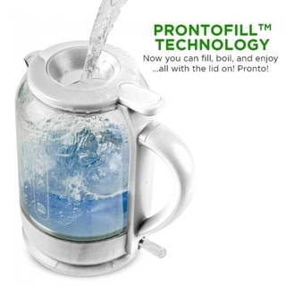 Ovente Electric Glass Hot Water Kettle 1.5 Liter with ProntoFill Technology