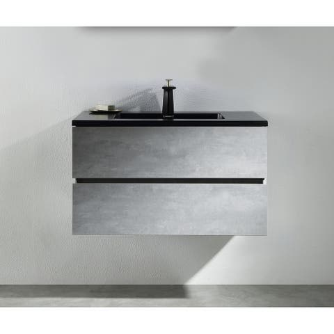 Alma-EDI 36 inch Cement Grey Wall Mount Vanity with Integrated Black Sink
