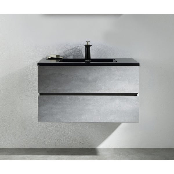 Alam-EDI 36 inch Cement Grey Wall Mount Vanity with Integrated Black Sink