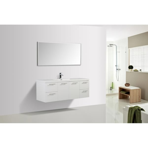 Alam Luxury 60 inch Gloss White Wall Mount Single Sink Vanity with Integrated Sink