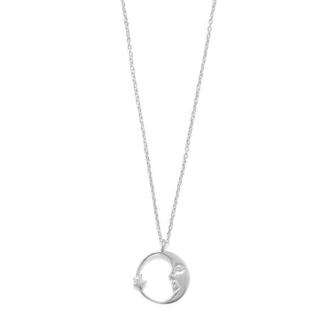 Sterling Silver Crescent Moon & Star Pendant Necklace, 16.5 inch Chain