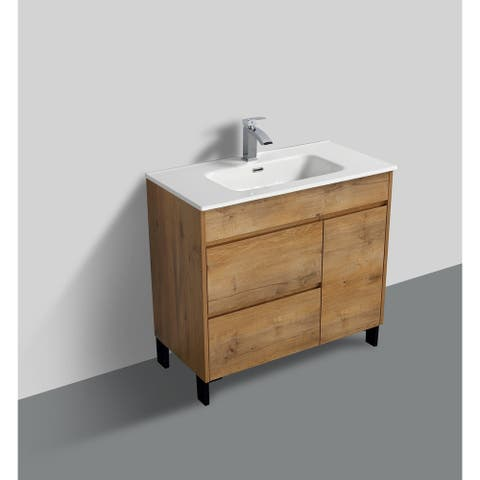 Alma-Grace 36 inch Nature Wood Finish Free Standing Vanity with integrated Ceramic Sink
