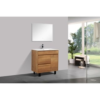 Alam-Grace 32 inch Natural Wood Finish Free Standing Vanity with integrated Ceramic Sink