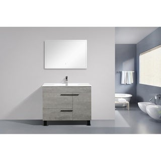 Alam-Gill 40 inch Cement Grey Free Standing Vanity with integrated Ceramic Sink