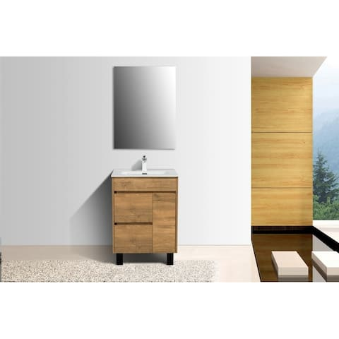 Alma-Grace 24 inch Nature Wood Finish Free Standing Vanity with integrated Ceramic Sink