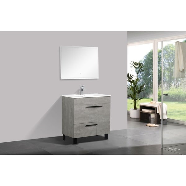 Alam-Gill 32 inch Cement Grey Free Standing Vanity with integrated Ceramic Sink