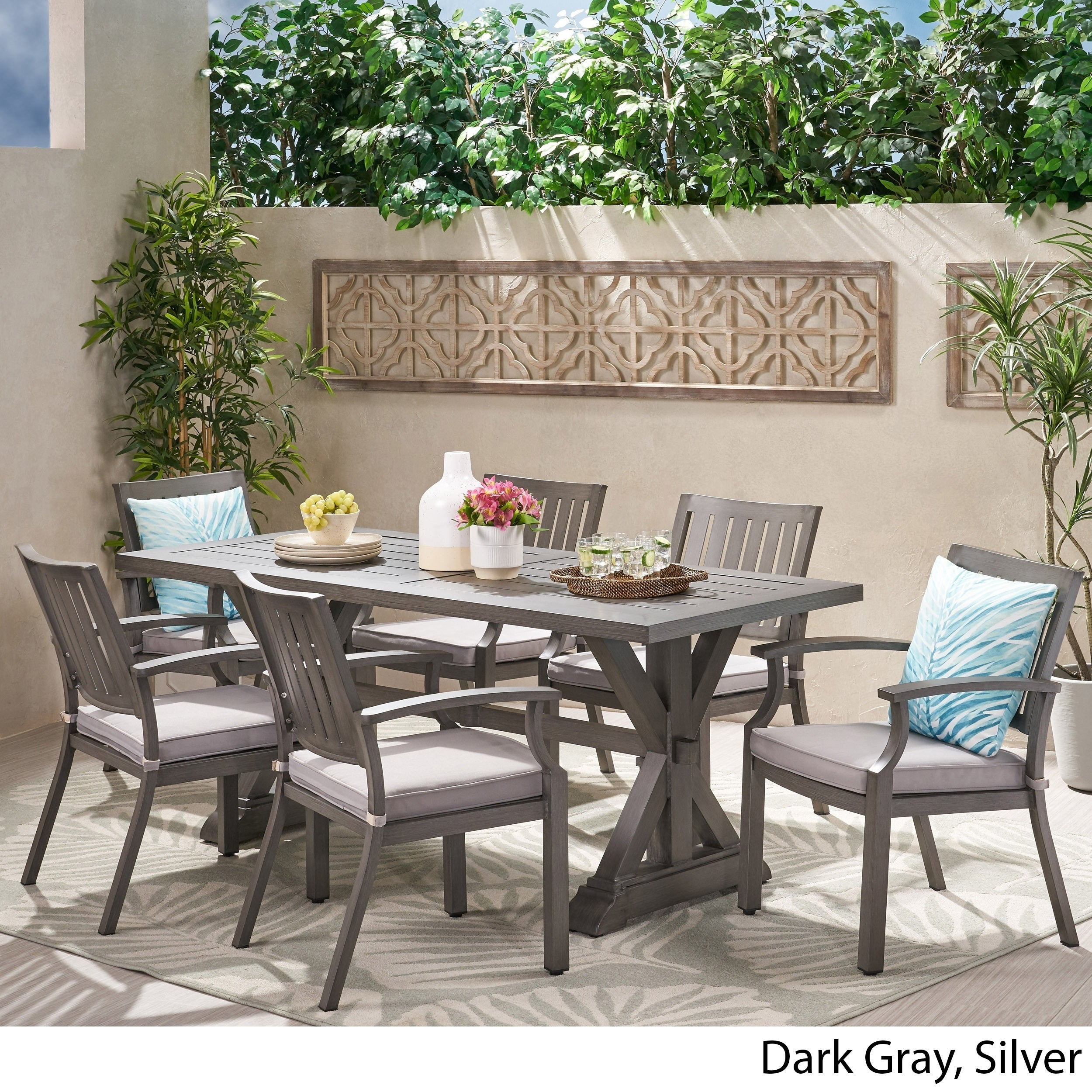 Lombok 7 Piece Outdoor Aluminum Dining Set With Cushions By Christopher Knight Home On Sale Overstock 30412443