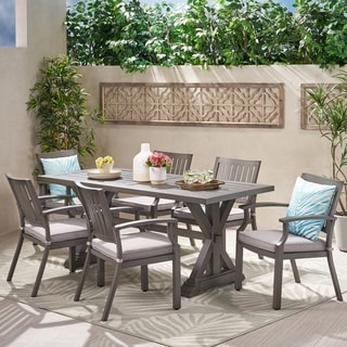 Link to Lombok 7-piece Outdoor Aluminum Dining Set with Cushions by Christopher Knight Home Similar Items in Patio Furniture