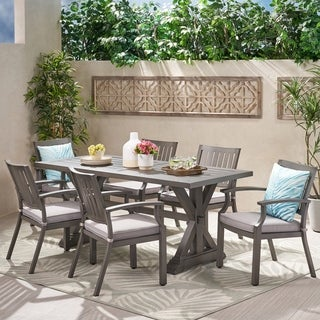 Lombok Outdoor Modern 6 Seater Aluminum Dining Set with Cushions by Christopher Knight Home