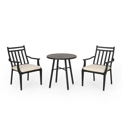 Delmar Outdoor 3 Piece Bistro Set with Cushions by Christopher Knight Home