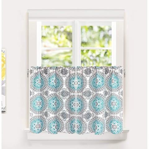 DriftAway Bella Medallion Pattern Kitchen Tier Rod Pocket Window Curtain Set of 2 - 29'' width x 24'' length