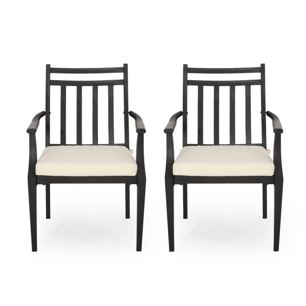 """Delmar Outdoor Dining Chair with Cushion (Set of 2) by Christopher Knight Home - 26.10"""" W x 24.50"""" D x 36.00"""" H. Opens flyout."""