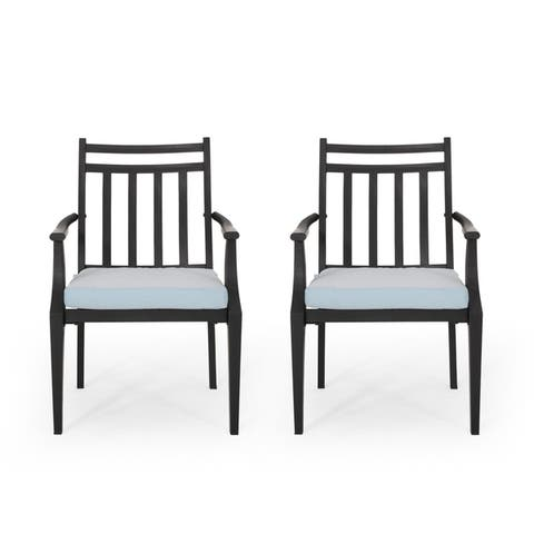 """Delmar Outdoor Dining Chair with Cushion (Set of 2) by Christopher Knight Home - 26.10"""" W x 24.50"""" D x 36.00"""" H"""