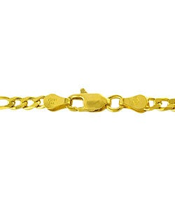 14K Gold over Sterling Silver 4.6mm Figaro Chain (20-30 inch) - Thumbnail 1