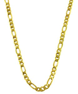 14K Gold over Sterling Silver 4.6mm Figaro Chain (20-30 inch)