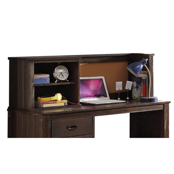 Wooden Desk Hutch with Storage Space and Bead Board Panels, Brown