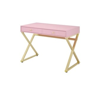 Wooden Rectangular Desk with Storage and X Shaped legs, Pink and Gold