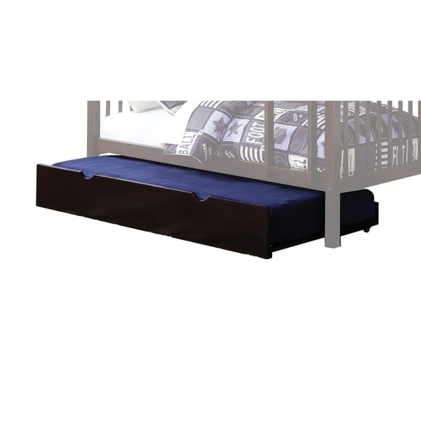 Wooden Twin Trundle with Caster Wheels and Cut Out Handle, Dark Brown