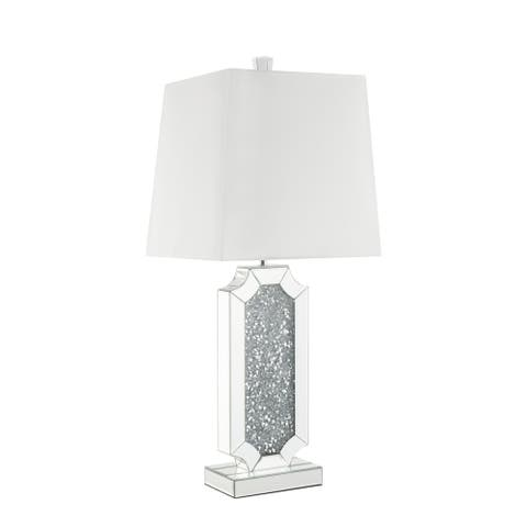 Mirrorred Base Wooden Table Lamp with Square Shade, White and Silver