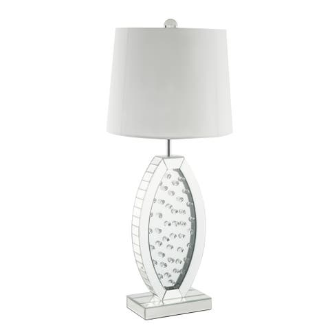 Mirrorred Base Wooden Table Lamp with Faux Crystal, White and Silver