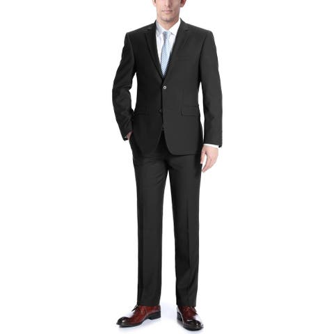 Men's Solid Two Button Notch Lapel Classic Fit Wool Suit