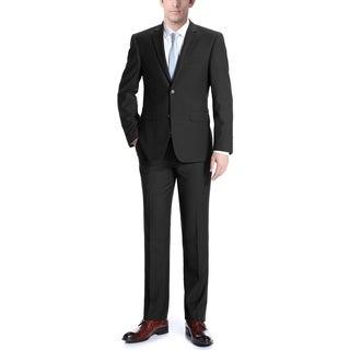 Men's Solid Two Button Notch Lapel Classic Fit Wool Suit