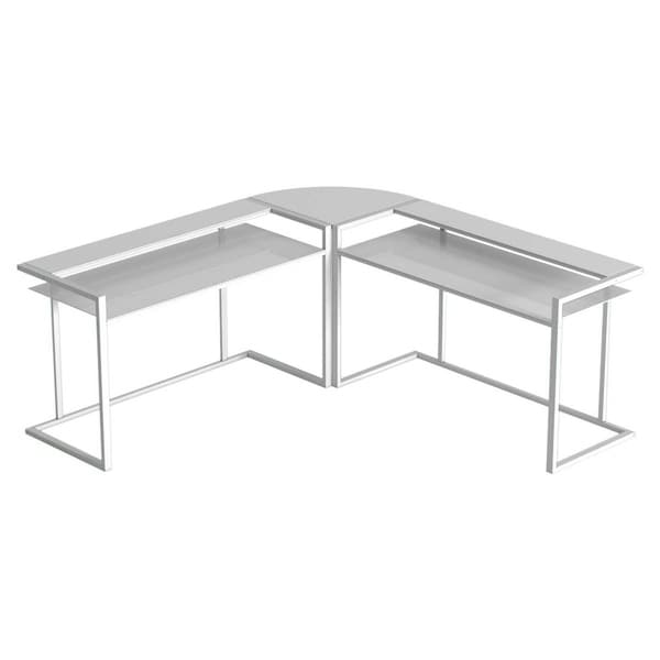 Ryan Rove Belmac 3 Pc L Shaped Computer Desk - Home & Office Organizer with Side Table and Keyboard Tray- White Base/White Glass