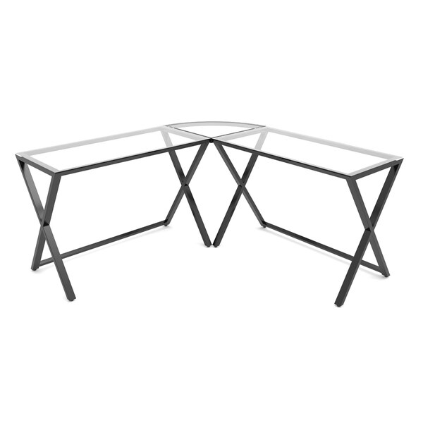 Ryan Rove Keeling Home Office 3 Piece X Frame Corner L Shaped Contemporary Computer Desk