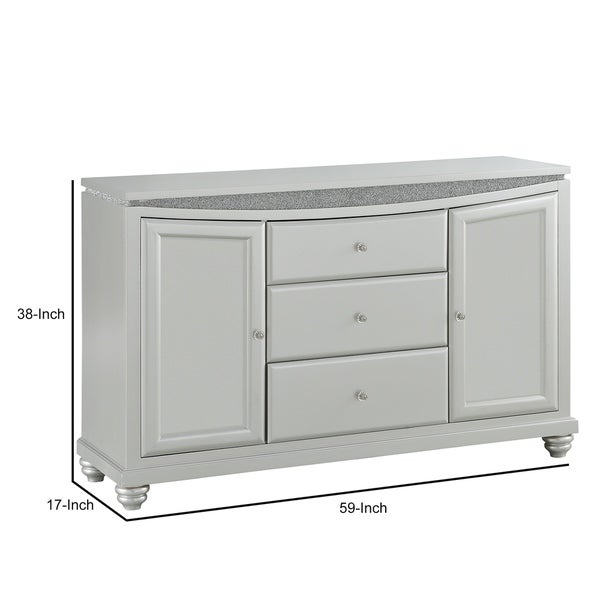 3 Drawer and 2 Door Wooden Server with Crystal Accent, Silver