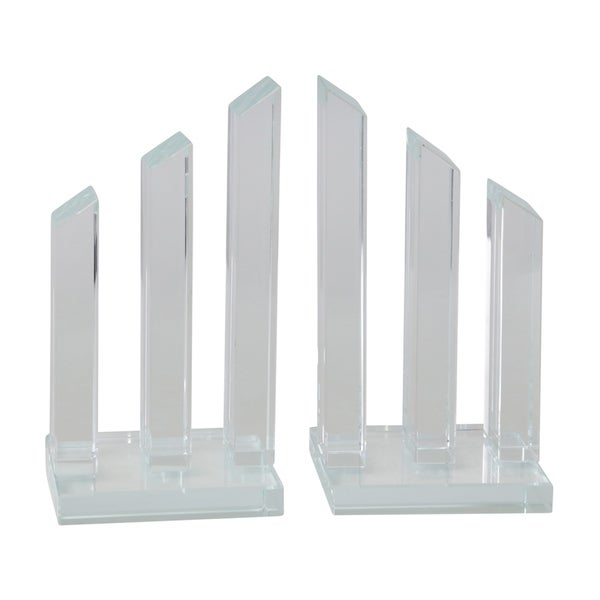 Glass Made Pillar Statuette Bookend, Pair of 2, Clear