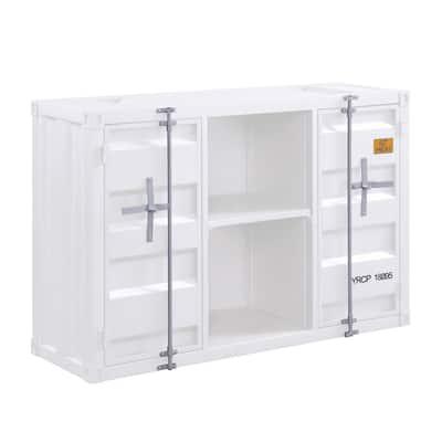 Industrial Metal Server with 2 Door Cabinet and 2 Open Shelves, White