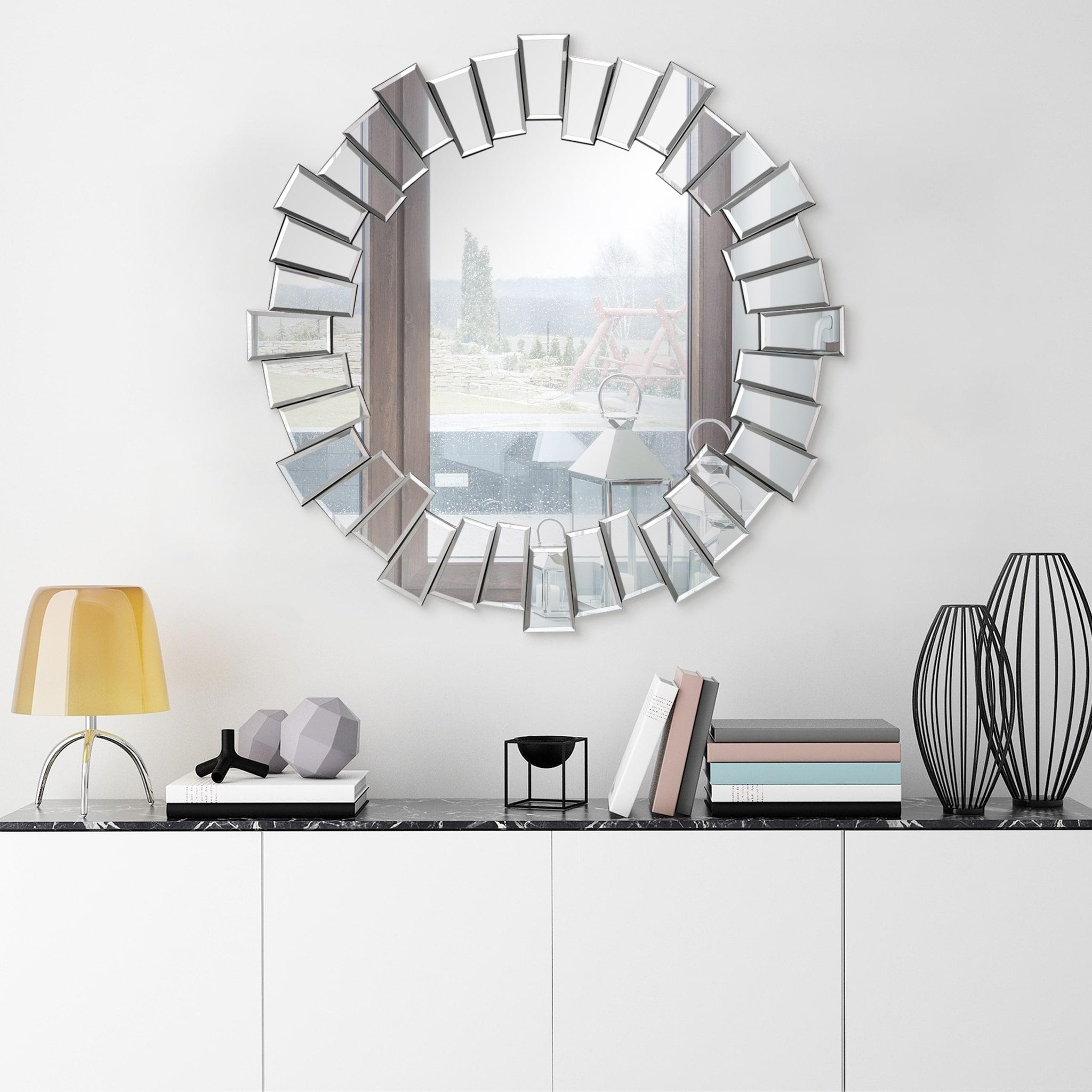 Traverse Modern Round Wall Mirror Bathroom Vanity Mirror Overstock 30415890