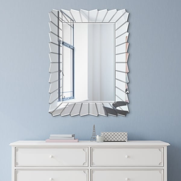 Porch & Den St. Barbara Beveled Rectangular Wall Mirror with Geometric Edges. Opens flyout.