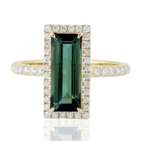 18kt Yellow Gold Pave Diamond Green Tourmaline Cocktail Ring Women Jewelry