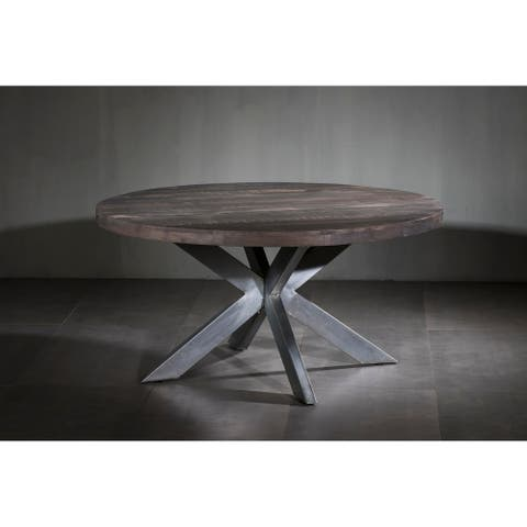 Wooden Iron Dining Table Round with X Base