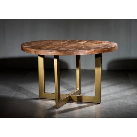 Wooden Iron Dining Table Round with Modern U Base