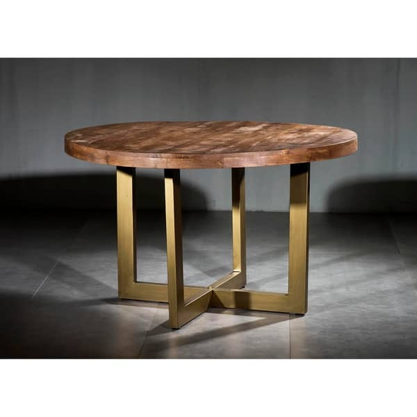 Wooden Iron Dining Table Round With Modern U Base Overstock 30415945