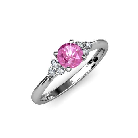 Trijewels Pink Sapphire and Diamond 1 ctw Womens Ring 14KW Gold