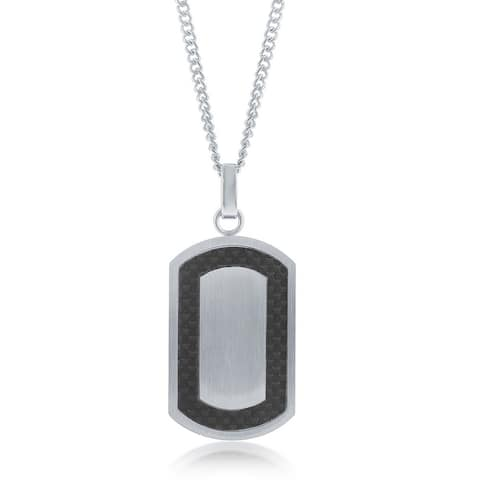 La Preciosa Stainless Steel Mens Matte Carbon Fiber Border Designed Dog Tag Pendant with Cuban Curb 22 Chain Necklace
