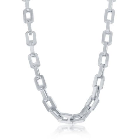 La Preciosa Stainless Steel Mens Matte Linked 22 Chain Necklace
