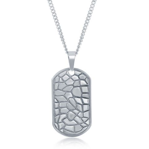 La Preciosa Stainless Steel Mens Designed Dog Tag Pendant with Cuban Curb 22 Chain Necklace