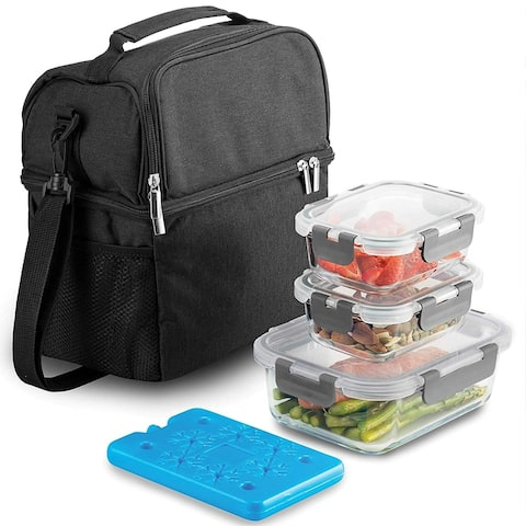 Dual Compartment Insulated Lunch Bag with Glass Meal Prep Containers - 5-Piece Lunch Box with Containers & Ice Pack.
