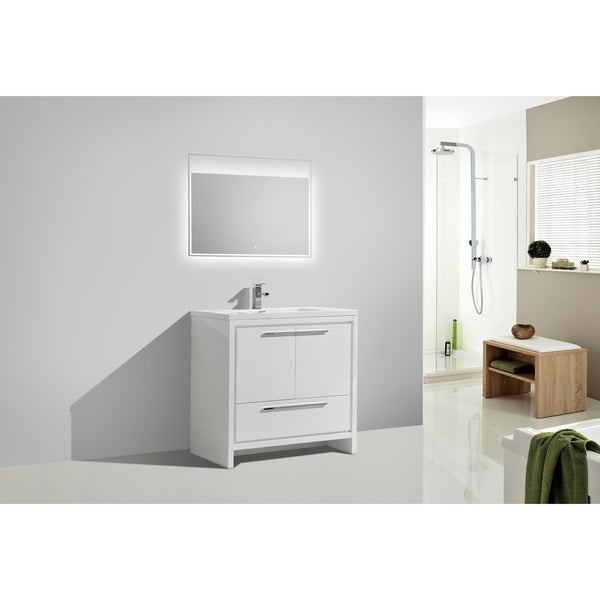 Alma-Allier 36 inch Gloss White Free Standing Vanity with Integrated Sink