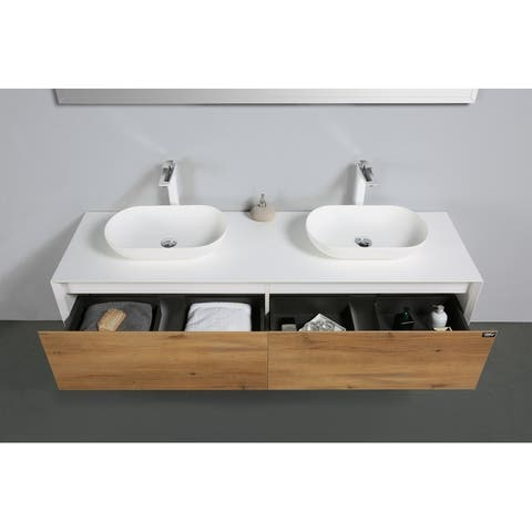 Alma-Fiona 72 inch Nature Wood Finish Wall Mount Vanity with Double Vessel Sinks