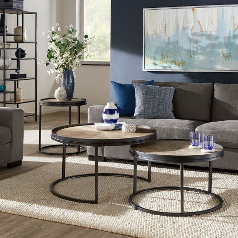 Bricken Grey Oak Finish Round Coffee and End Tables by iNSPIRE Q Modern